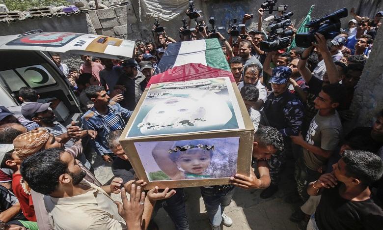 Les raids israéliens ont entrainé la mort de cinq Palestiniens, dont une femme enceinte et ses deux enfants. Ph. AFP