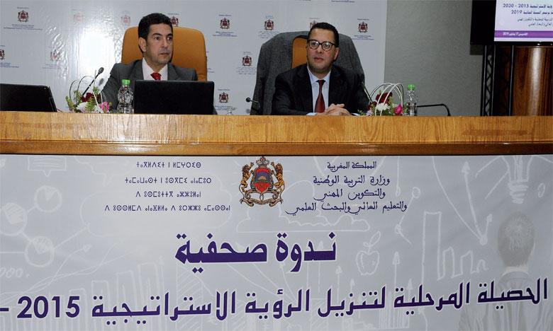 Saïd Amzazi, ministre de l'Éducation nationale, et Mohamed El Gharass, secrétaire d'État chargé de la Formation professionnelle, lors de la rencontre de présentation du bilan d'étape de la mise en œuvre de la vision stratégique de la réforme2015-2030.