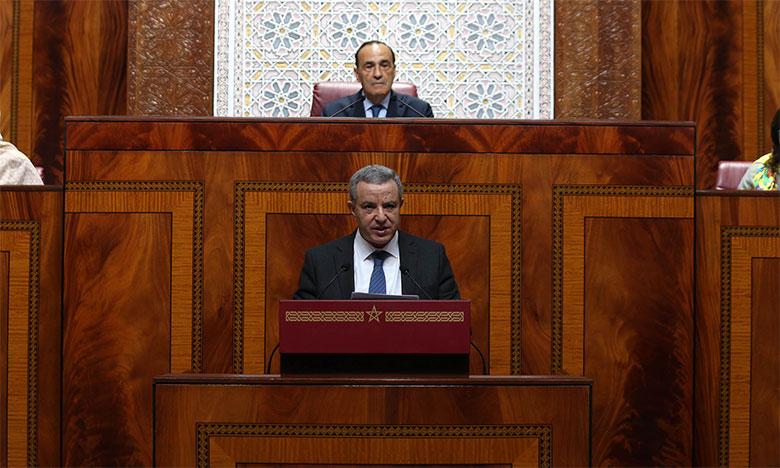 Le ministre de la Justice, Mohamed Aujjar, intervenant à la Chambre des représentants.