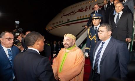Arrivée de S.M. le Roi à Brazzaville pour participer au Sommet des Chefs d'Etat et de gouvernement de la Commission Climat et du Fonds Bleu du Bassin du Congo